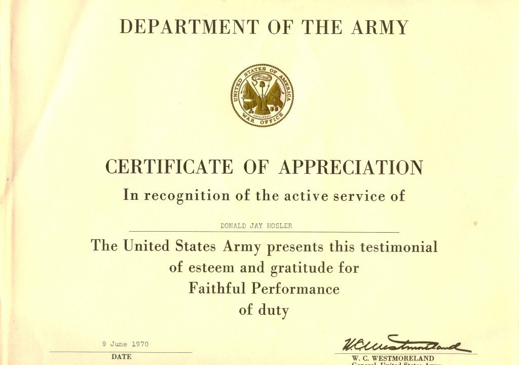 Army Certificate Of Appreciation Untitled 1 [ ]