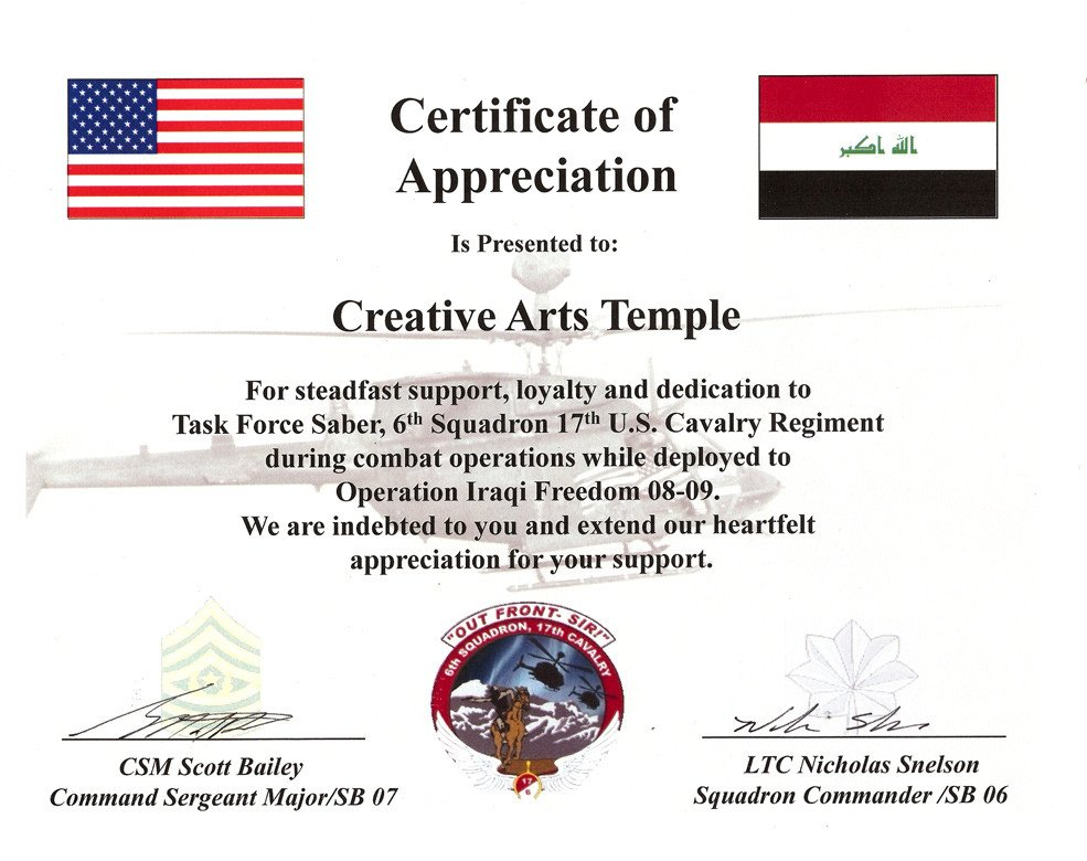 Army Certificate Of Appreciation Us Army Certificate Of Appreciation