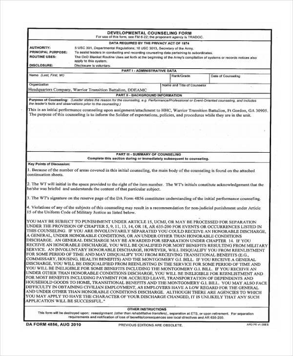 Army Initial Counseling form 48 Counseling form Examples