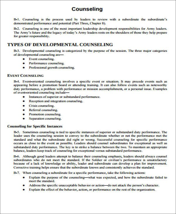 Army Initial Counseling form 8 Army Counseling form