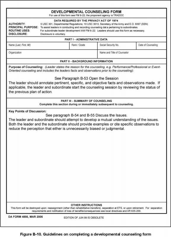 Army Initial Counseling form Army Initial Counseling Examples
