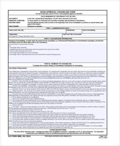 Army Initial Counseling form Blank Counseling form Samples 8 Free Documents In Word Pdf