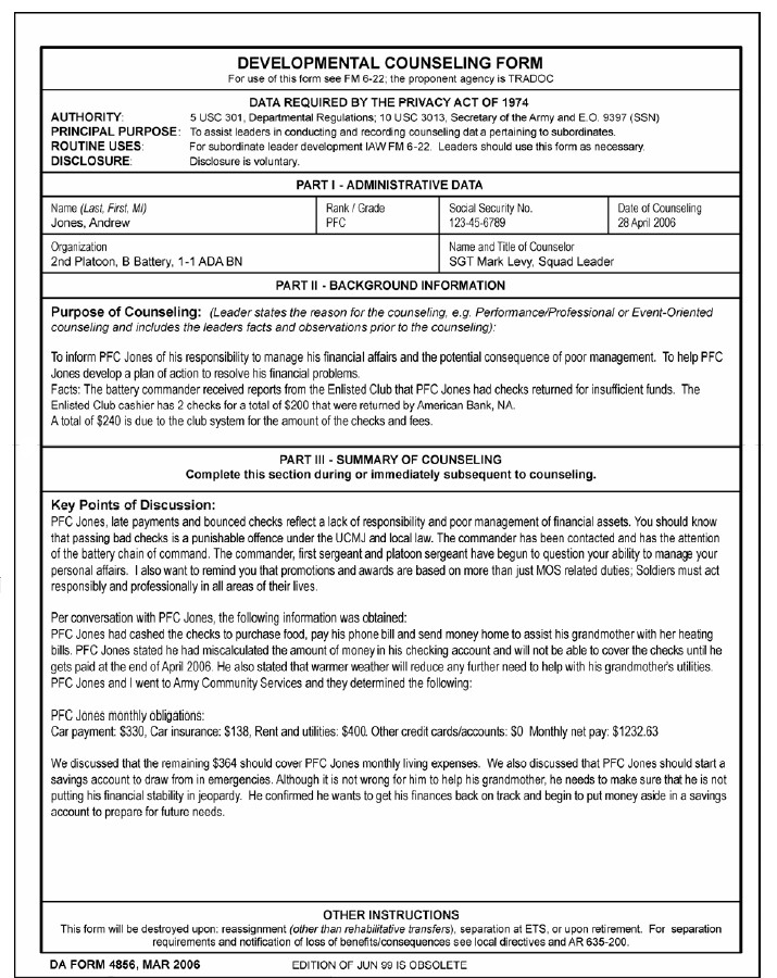 Army Initial Counseling form Blank Da form 4856 Initial Counseling