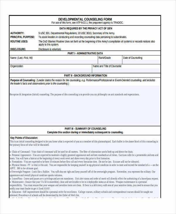 Army Initial Counseling form Da 4856 Monthly Counseling Examples