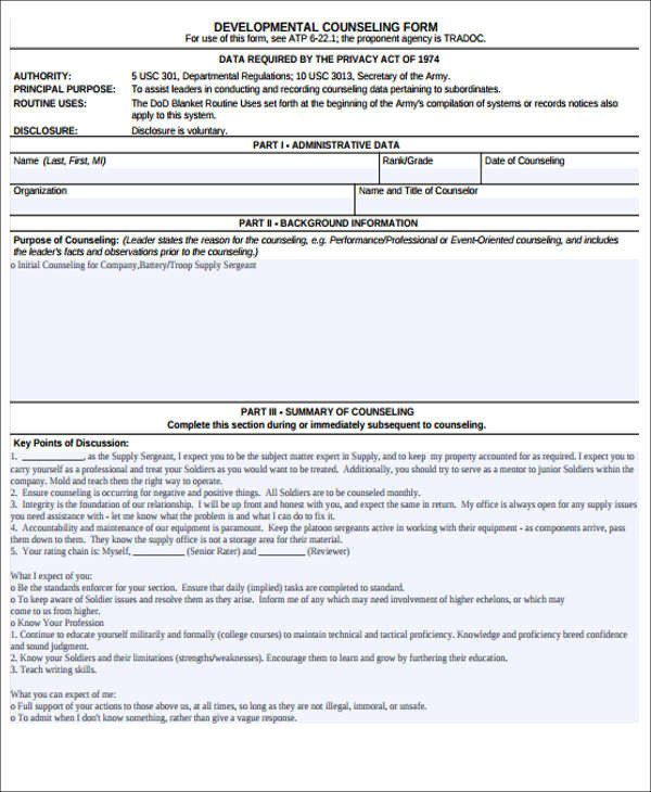 Army Initial Counseling form Monthly Counseling Example Simple Guidance for You In