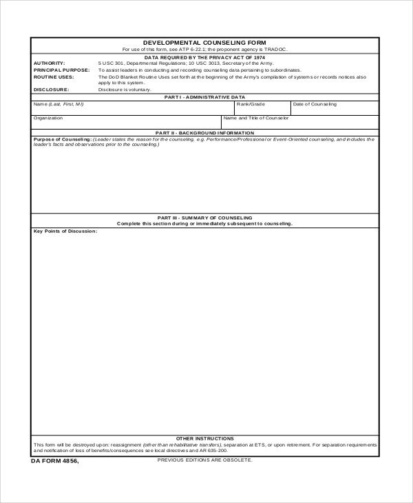 Army Initial Counseling form Sample Army Counseling form 7 Examples In Word Pdf