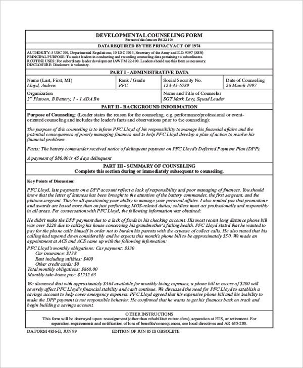 Army Initial Counseling form Sample Army Counseling form 7 Free Documents In Pdf Doc