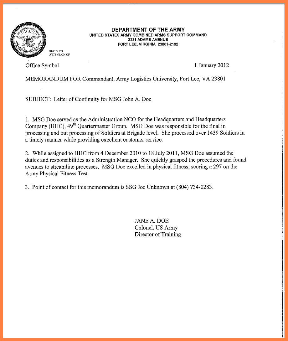 Army Memorandum for Record Template 9 Memorandum for Record Army