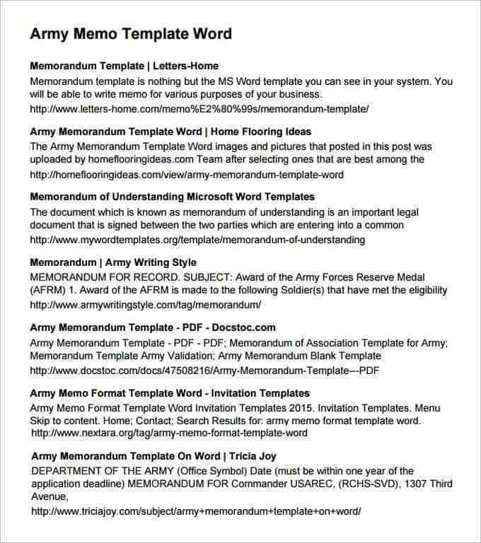 Army Memorandum for Record Template Army Memorandum Templates Find Word Templates