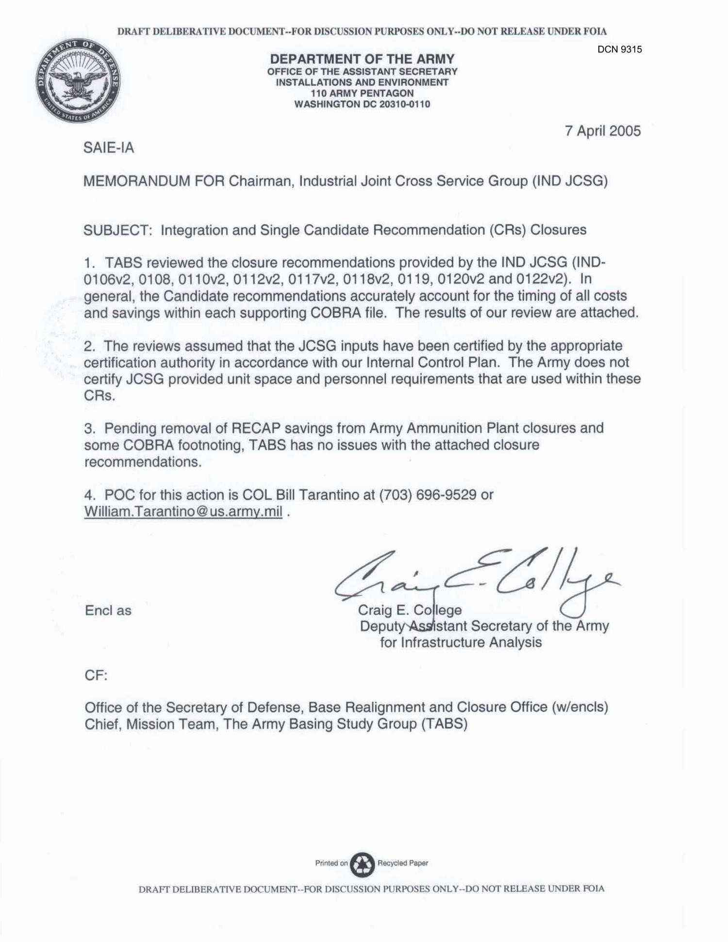 Army Memorandum for Record Template Department Of the Army Memo Dated 7 April 2005 for