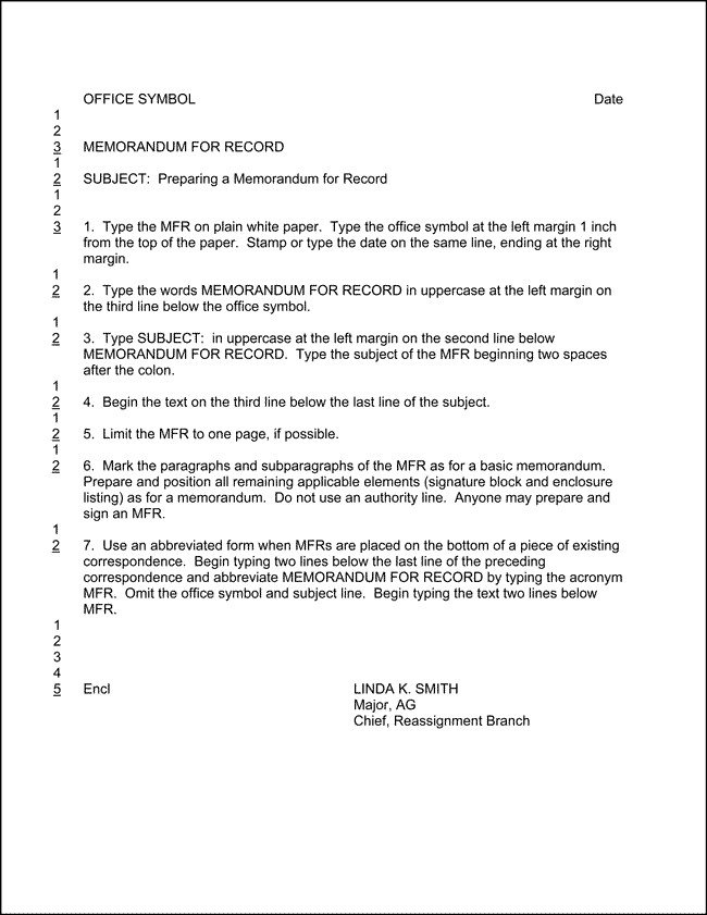 Army Memorandum for Record Template Example Memorandum for Record