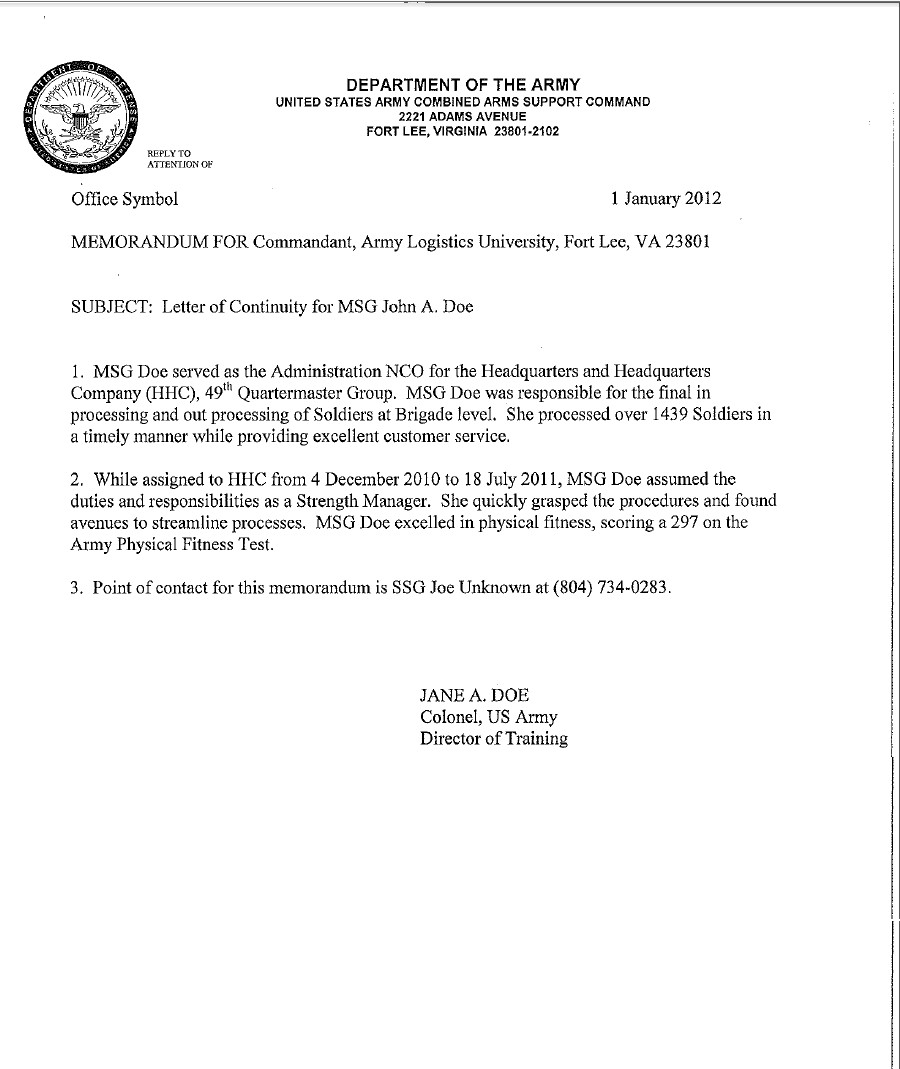Army Memorandum for Record Template Letter Of Continuity Example