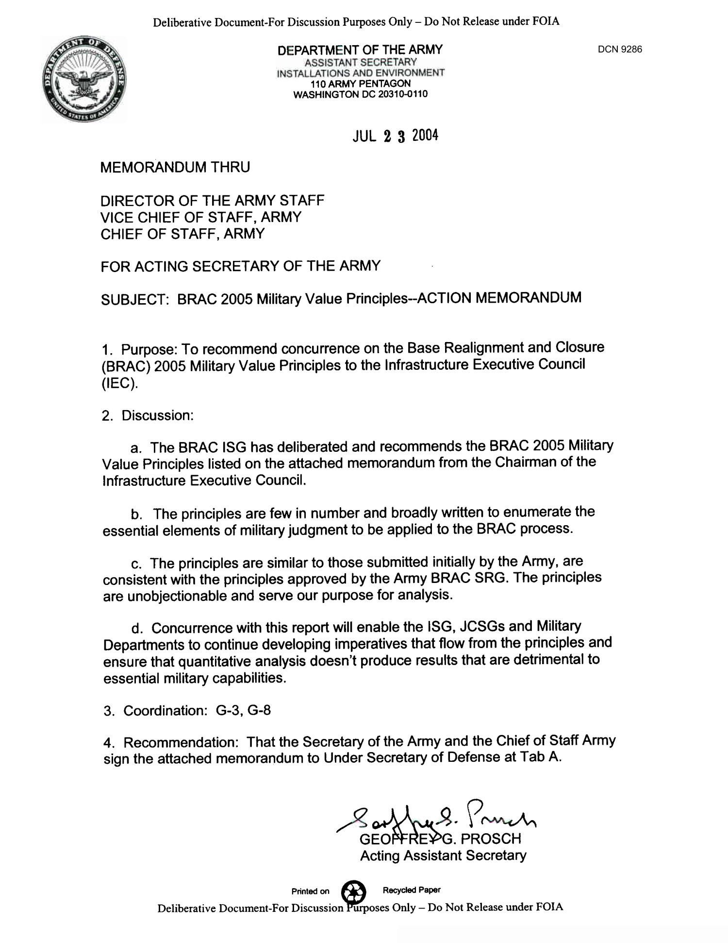 Army Memorandum for Record Template Memorandum for the Acting Secretary Of the Army Brac 2005