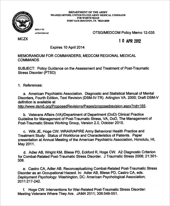 Army Memorandum for Record Template Sample Army Memo Template 8 Pdf Word Google Docs