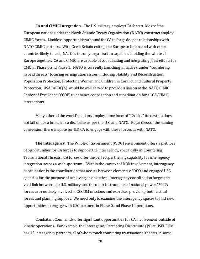 Army White Paper format 2016 Civil Affairs Syposium White Paper