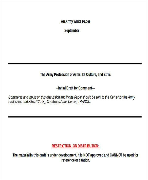 Army White Paper format 25 White Paper formats