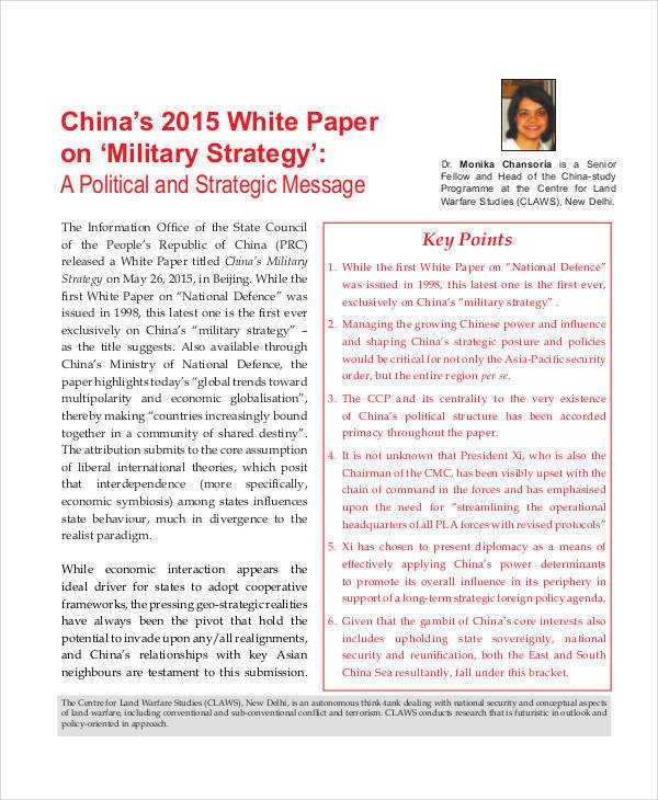 Army White Paper format 32 White Paper formats