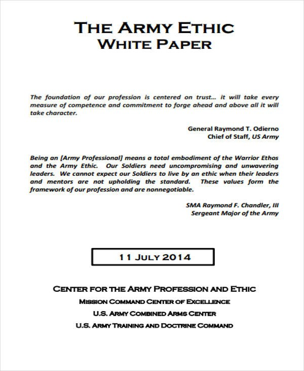Army White Paper format 36 White Paper Examples