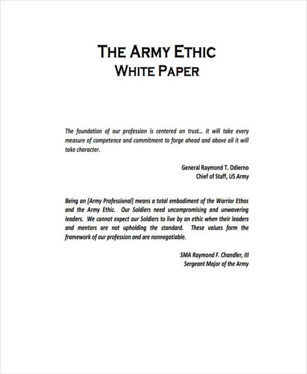 Army White Paper format 38 Sample White Paper Templates
