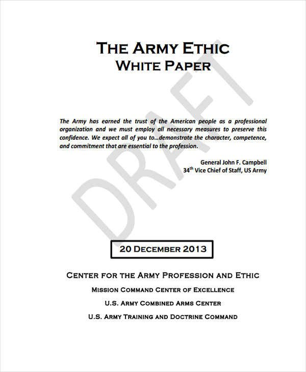 Army White Paper format 49 White Paper Templates