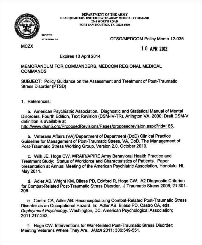 Army White Paper format Army Memorandum Template 4 Templates