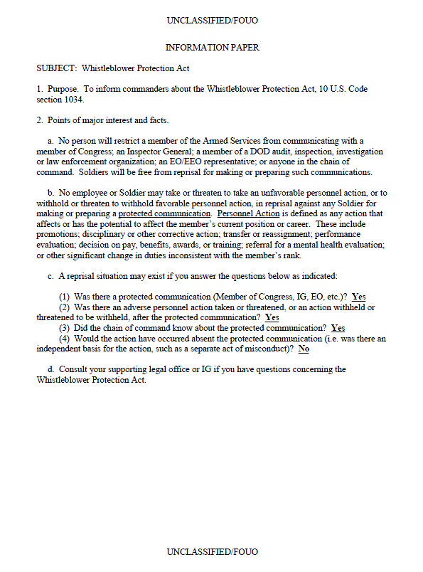 Army White Paper format Fouo Dod Military Whistleblower Protection Act