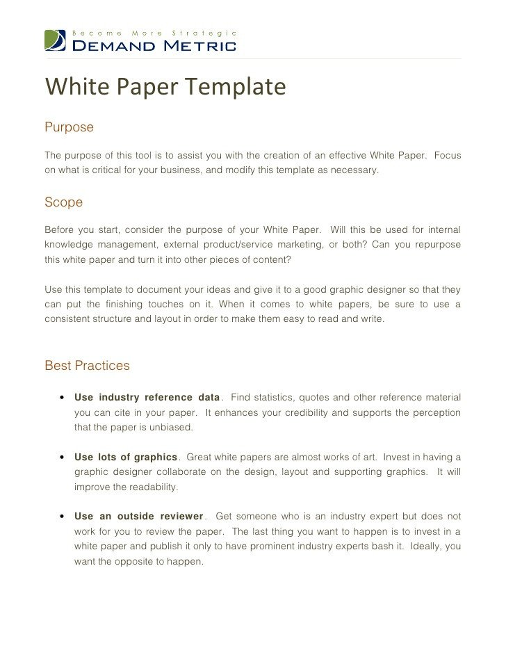 Army White Paper format White Paper Template