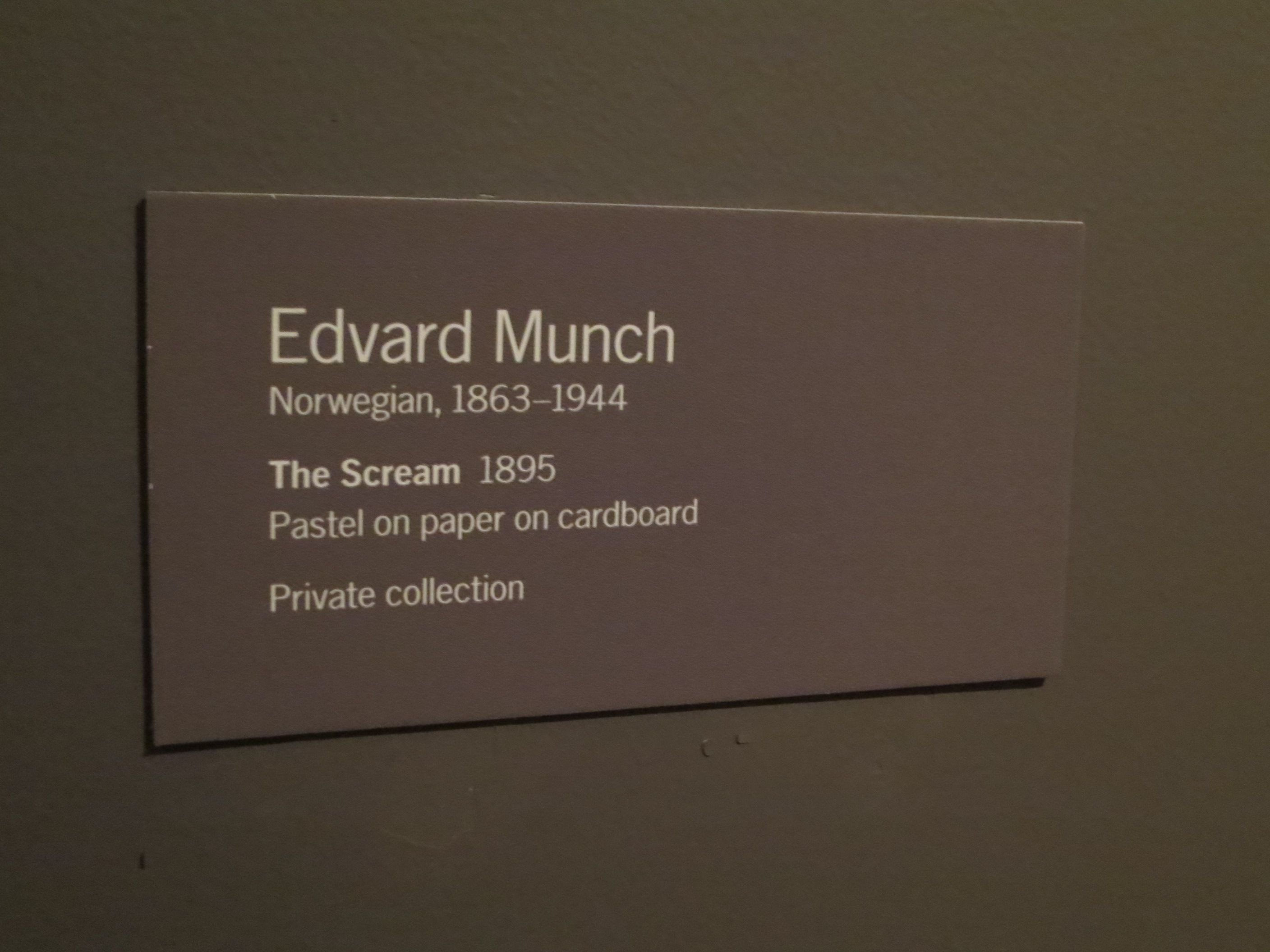"Art Show Label Template Edvard Munch ""the Scream"" 1895 Pastel On Paper On"