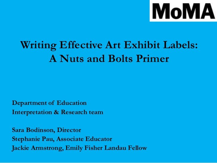 Art Show Label Template Writing Effective Interpretive Labels for Art Exhibitions