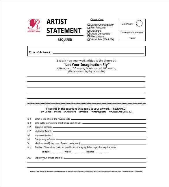 Artist Bio Template Word Statement Templates – 30 Free Word Excel Pdf Indesign