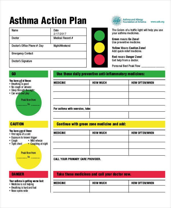Asthma Action Plan Template 35 Sample Plan Templates