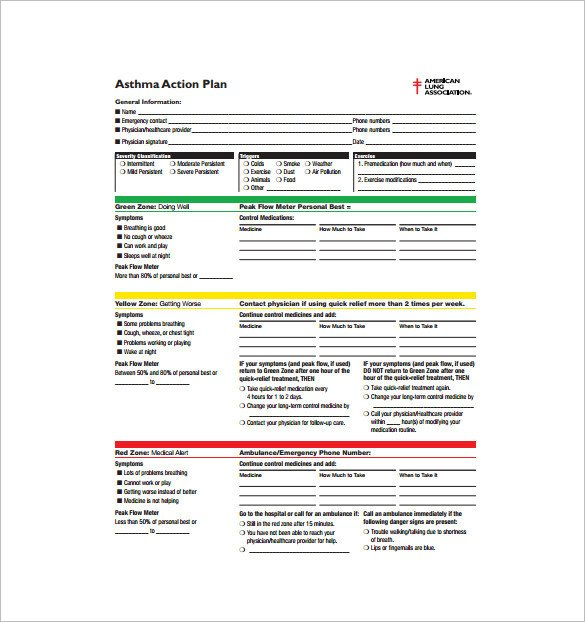 Asthma Action Plan Template 9 asthma Action Plan Template Doc Excel Pdf