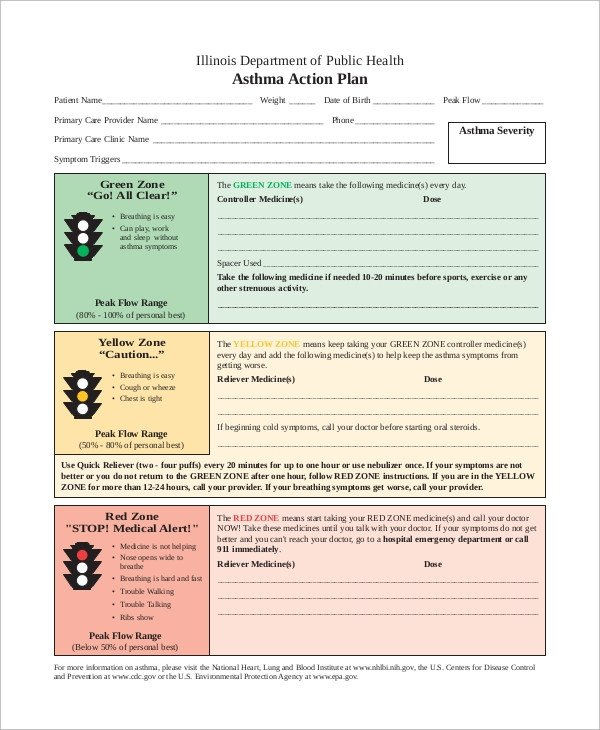 Asthma Action Plan Template Action Plan Example 13 Samples In Word Pdf