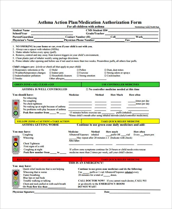 Asthma Action Plan Template Sample asthma Action Plan 9 Examples In Word Pdf