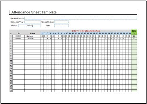 Attendance Sheet Template Excel 36 General attendance Sheet Templates In Excel Thogati
