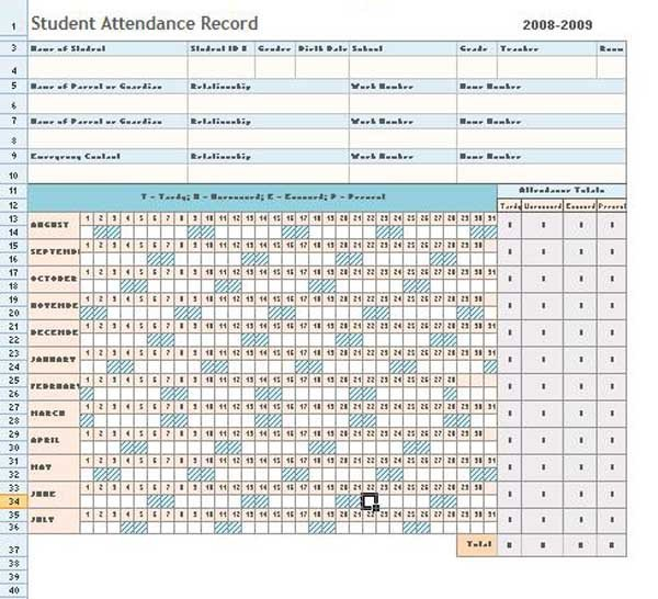 Attendance Sheet Template Excel attendance Sheet Excel Template Microsoft Word Templates