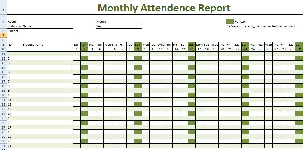 Attendance Sheet Template Excel attendance Sheet for Employees Excel 2016