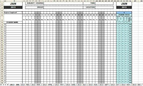 Attendance Sheet Template Excel attendance Sheets 2013