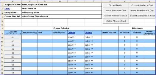 Attendance Sheet Template Excel Course attendance Excel Template