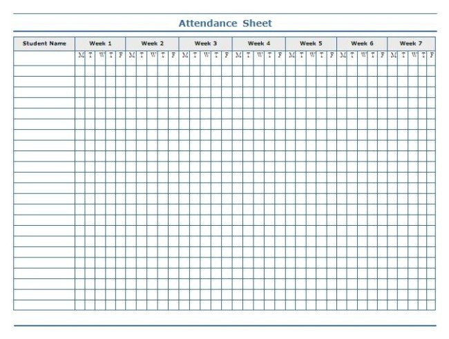 Attendance Sheet Template Excel Minimalist Template Of Weekly attendance Sheet In Excel