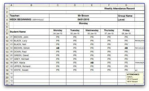 Attendance Sheet Template Excel Weekly attendance Sheet