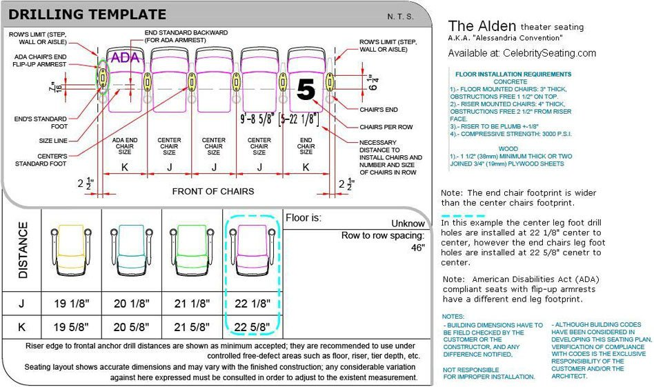 Auditorium Seating Chart Template Alden theater Seating Specification Page Auditorium