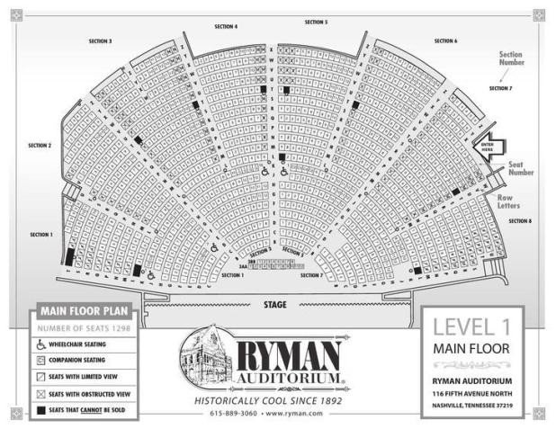 Auditorium Seating Chart Template Ryman Seating Capacity