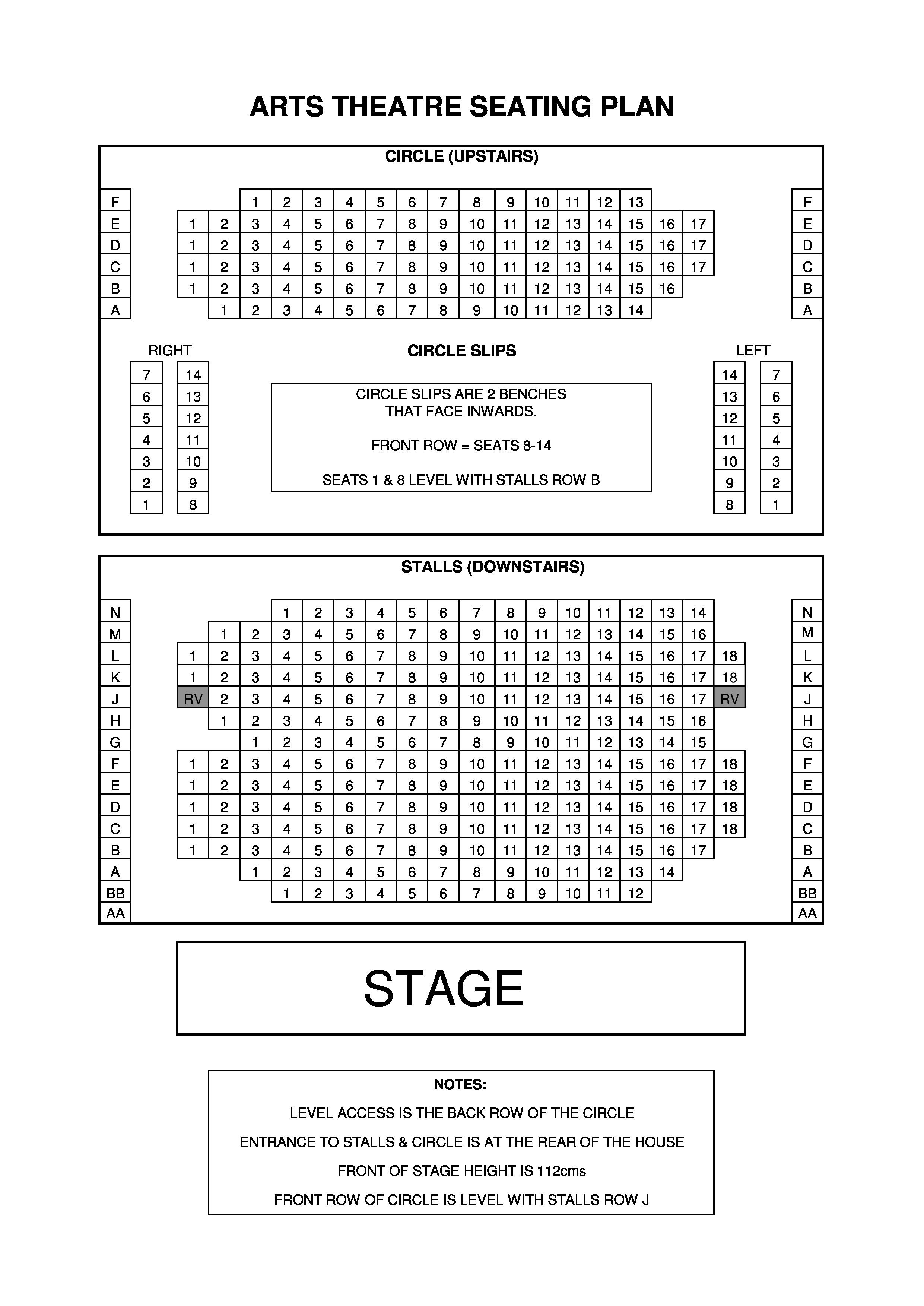 Auditorium Seating Chart Template Ticket Booking Information Arts theatre