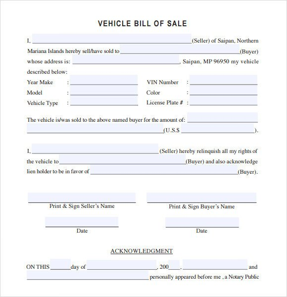 Auto Bill Of Sale Template 14 Sample Vehicle Bill Of Sales Pdf Word