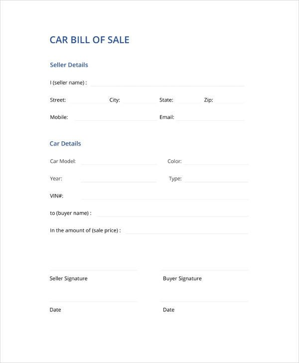 Auto Bill Of Sale Template Bill Of Sale Template 44 Free Word Excel Pdf
