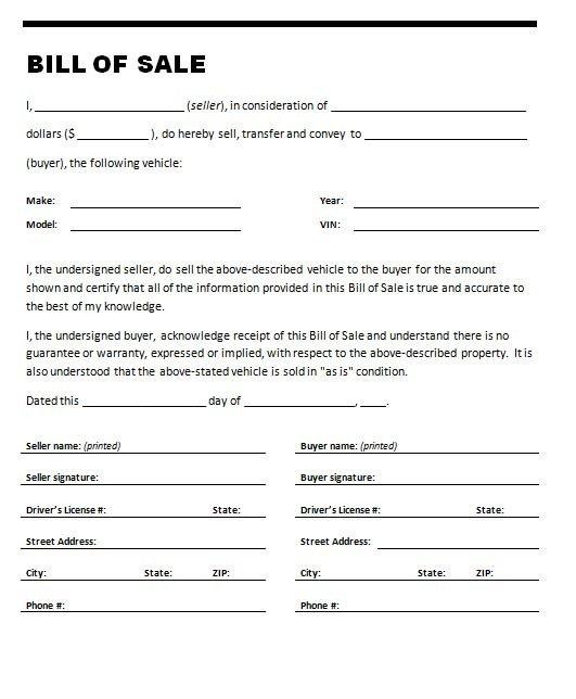 Auto Bill Of Sale Template Car Bill Sale Template