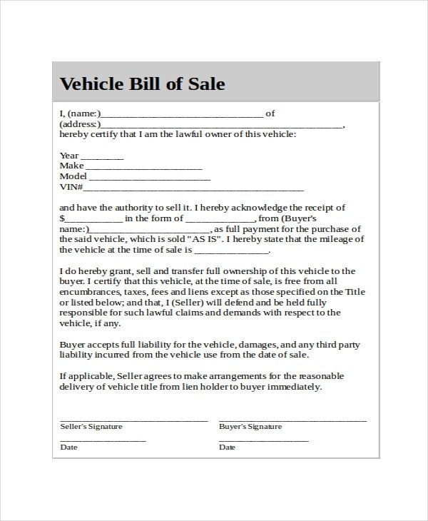 Auto Bill Of Sale Template Generic Bill Of Sale Template 12 Free Word Pdf
