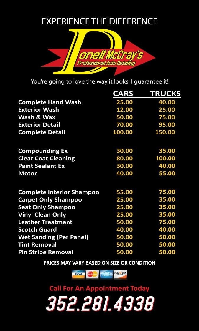 Auto Detail Price List Template 9 Best Auto Detail Images On Pinterest