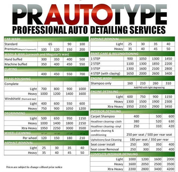 Auto Detail Price List Template Auto Detailing Quotes Quotesgram